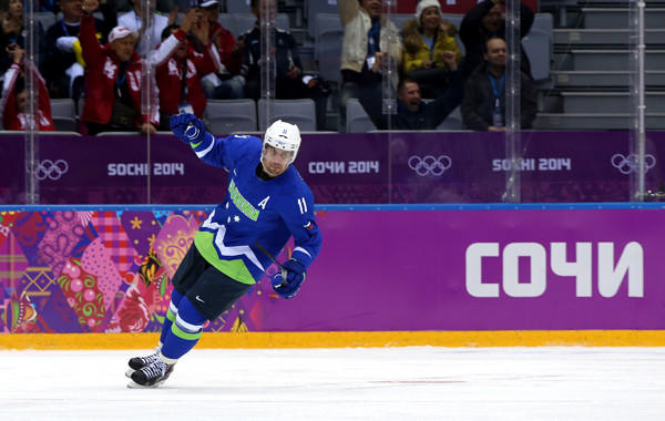 Kings center Anze Kopitar celebrates after scoring a goal for Slovenia against Austria in the Sochi Olympic Games on Feb. 18. Kopitar has played well since returning from the Olympic Games.