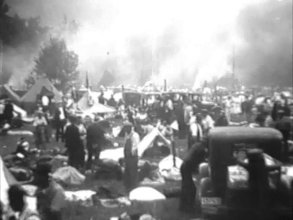 This screen capture is from a 1932 Universal newsreel and shows the beginning of Camp Laurel.