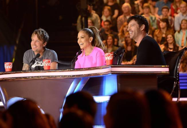 """American Idol"" judges Keith Urban, left, Jennifer Lopez and Harry Connick Jr."