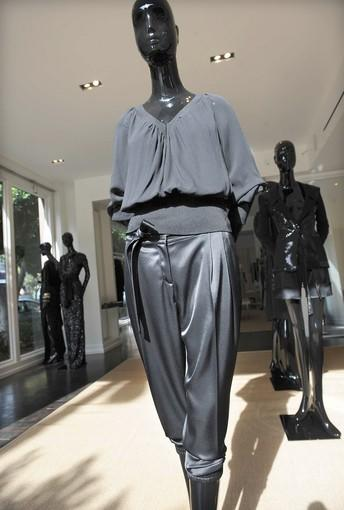 Caviar silk georgette blouse with Caviar satin 'Karen' pant, self-tie belt included.