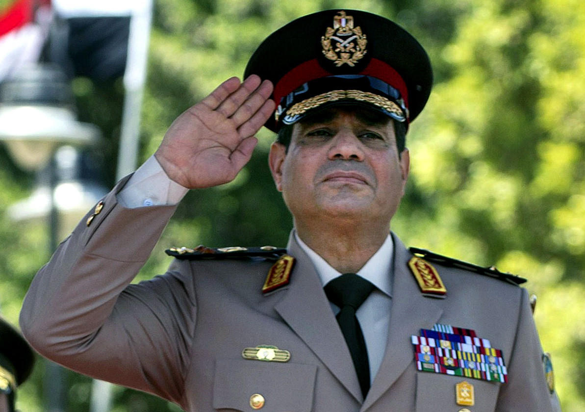 Field Marshal Abdel-Fattah Sisi, shown last April during an arrival ceremony in Cairo for U.S. Secretary of Defense Chuck Hagel, is widely expected to run for Egypt's presidency.
