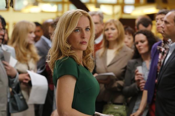 "Gillian Anderson as one of the power-parents of ""Crisis."""