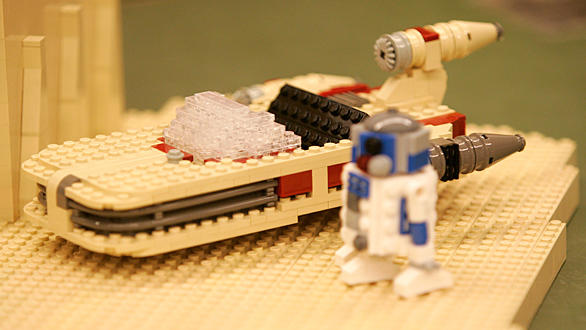 "A Lego landspeeder model built for the ""Star Wars"" area of Legoland California."