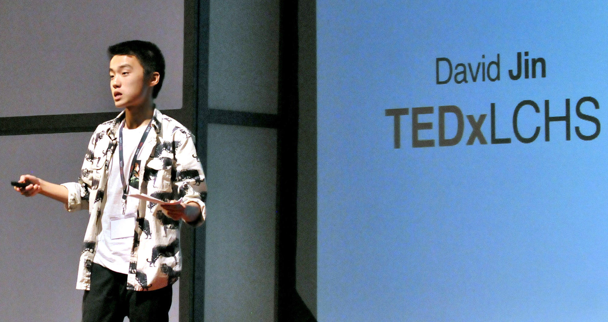 La Cañada High student David Jin speaks during a TEDx (Technology, Entertainment, Design) Talk Event at the high school on Sunday, March 9, 2014.