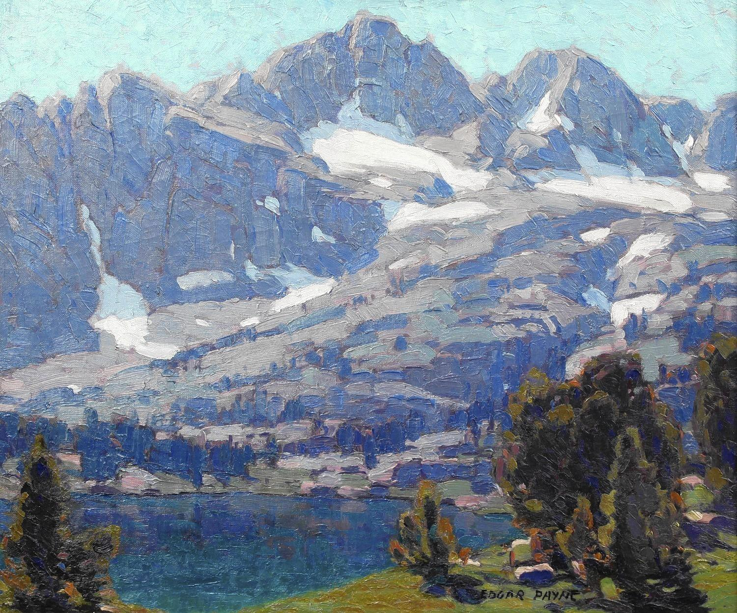 """Sierra Lake, Fifth Lake,"" by Edgar Payne, is one of the paintings on display at DeRus Fine Arts in Lagna Beach as part of the ""Highlights from Early California Impressionists"" exhibit."