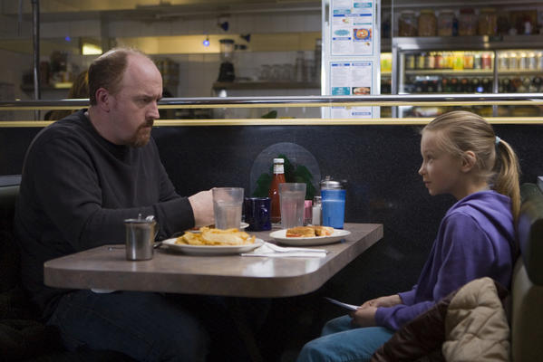 "Louie (Louis C.K.) and daughter Jane (Ursula Parker) dine out on the Emmy-winning ""Louie,"" which will return to FX in May after an extended hiatus."