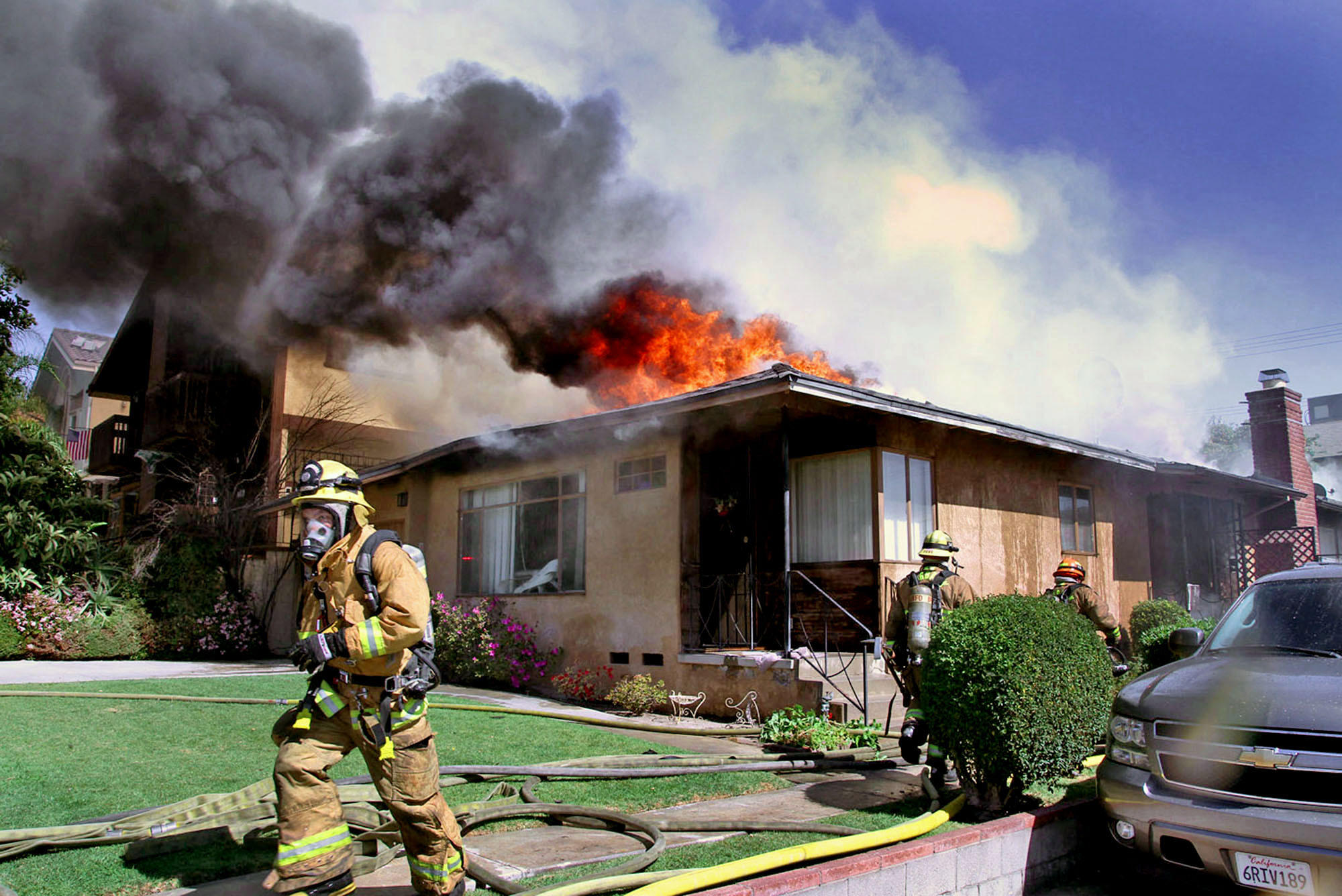 Burbank fire fighters battled a second-alarm blaze in the 700 Block of East Palm Avenue on Wednesday, March 12, 2014. It took firefighters nearly two hours to control and knock down the flames.