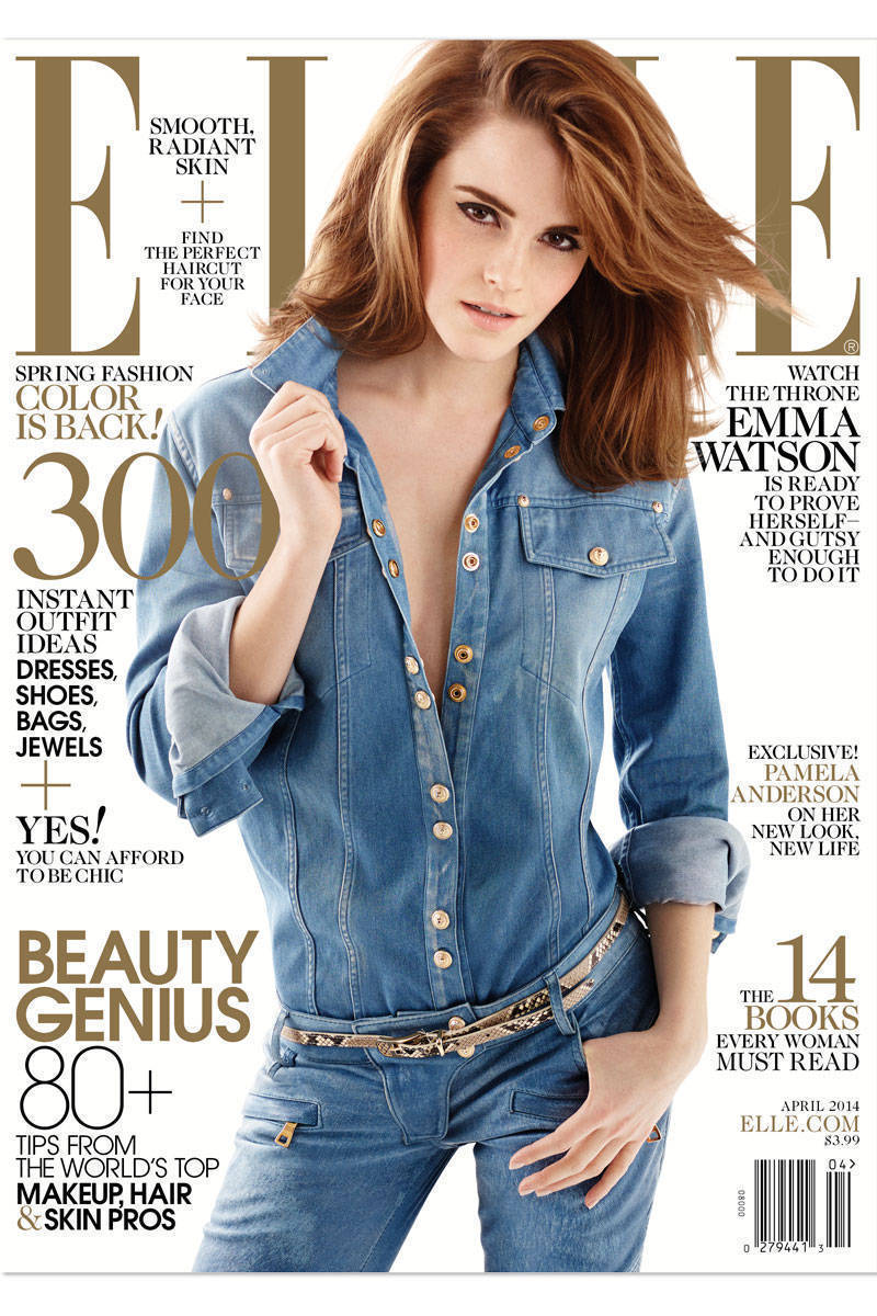 "Emma Watson of ""Noah"" poses in Balmain on the April 2014 cover of Elle magazine."
