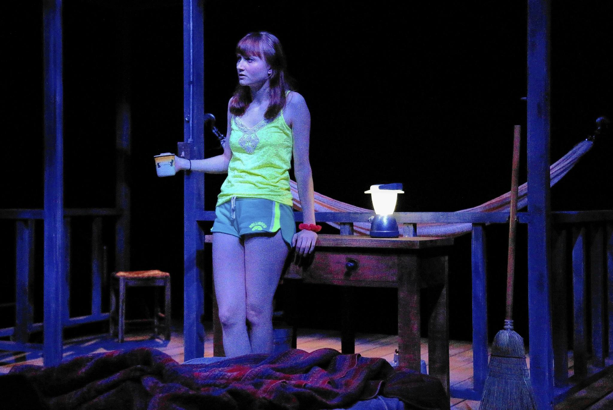"""Rae Gray rehearses a scene from """"Slowgirl."""""""