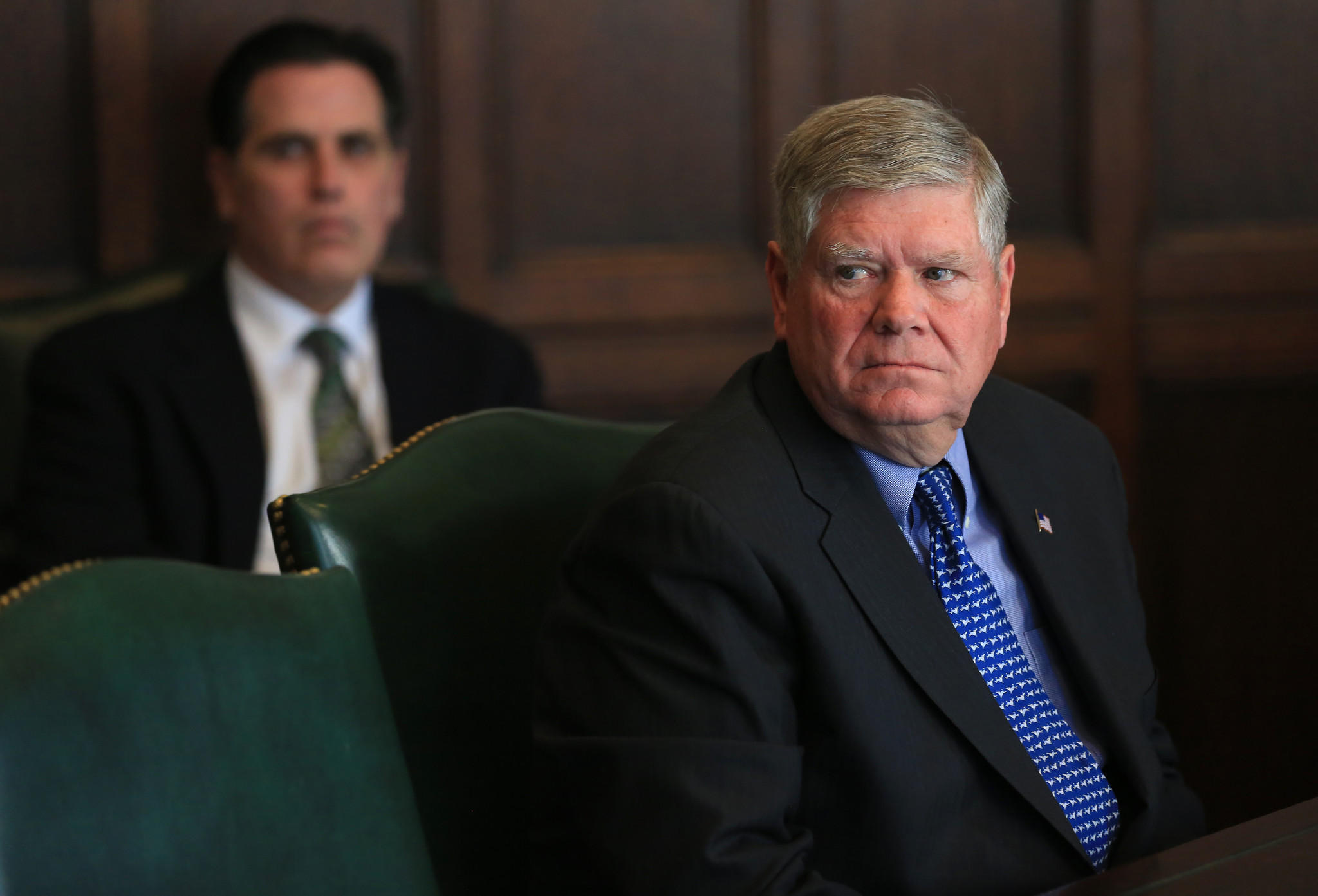 State Sen. Jim Oberweis, Republican, candidate for the U.S. Senate, meets with the Editorial Board in Chicago on Feb. 10.