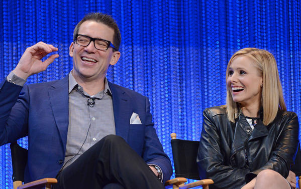 "Rob Thomas and Kristen Bell discuss ""Veronica Mars"" at a PaleyFest panel Thursday night at the Dolby Theatre."