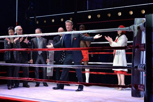 "Sylvester Stallone takes the curtain call Thursday at opening night of  ""Rocky"" at the Winter Garden Theatre."