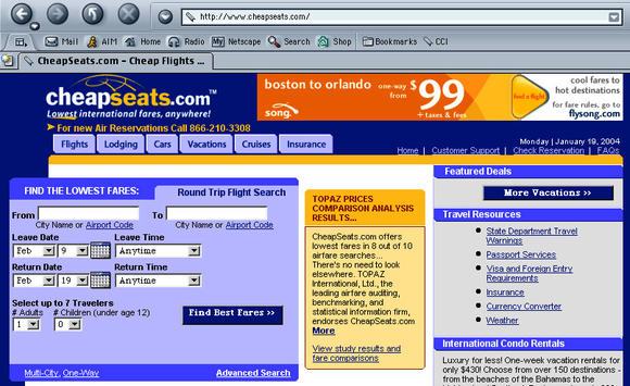 A travel website from 2004 showed how fares were advertised before the U.S. Department of Transportation required airlines to disclose full fares. A new bill would undo the DOT rule.