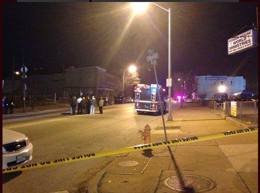 Scene of a shooting at Belair Road just north of North Avenue.