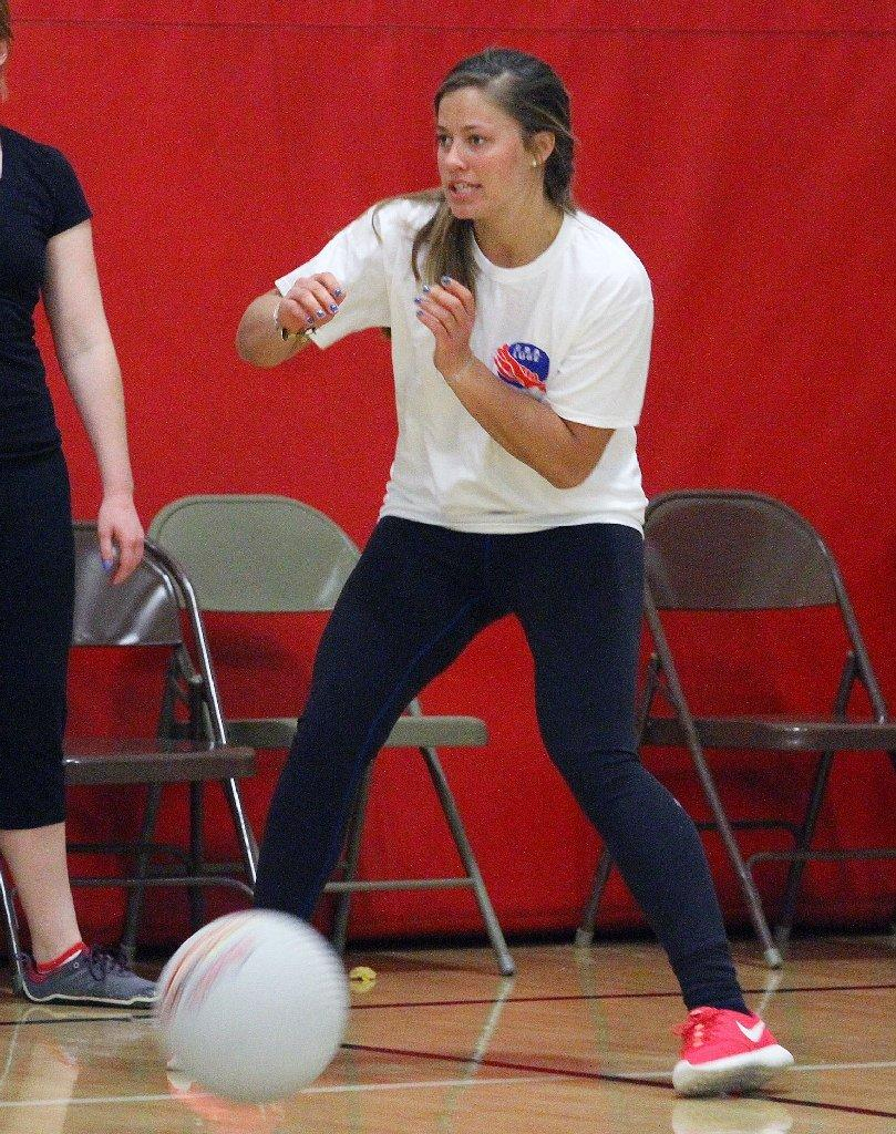 La Cañada Flintridge Olympic luger Kate Hansen, luge, shown here playing dodge ball on Monday, was selected to a Winter Games parade on Sunday. (Tim Berger/Staff Photographer)