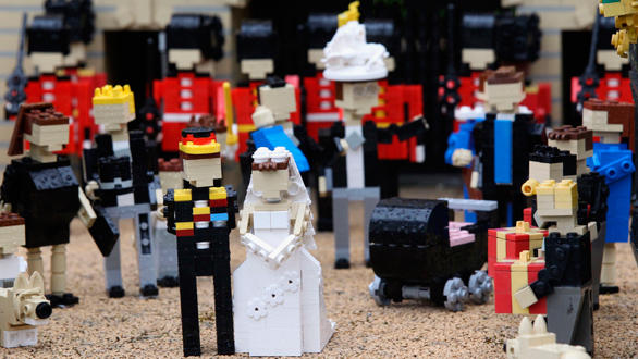 Prince William and Kate Middleton in the Lego royal wedding scene at Legoland Windsor.