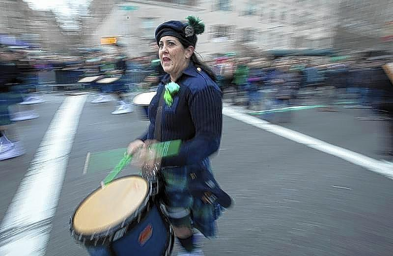 A drummer plays during the St. Patrick's Day Parade in New York in 2013.