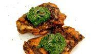 Recipe: Roasted chicken thighs with spinach, basil, pistachio and avocado oil pesto