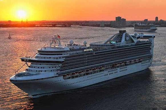 The Princess Cruises Golden Princess sails out of Port Everglades.
