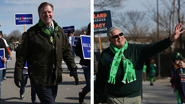 State senators Bill Brady and Kirk Dillard, from left, campaign during Naperville's St. Patrick's Day Parade.