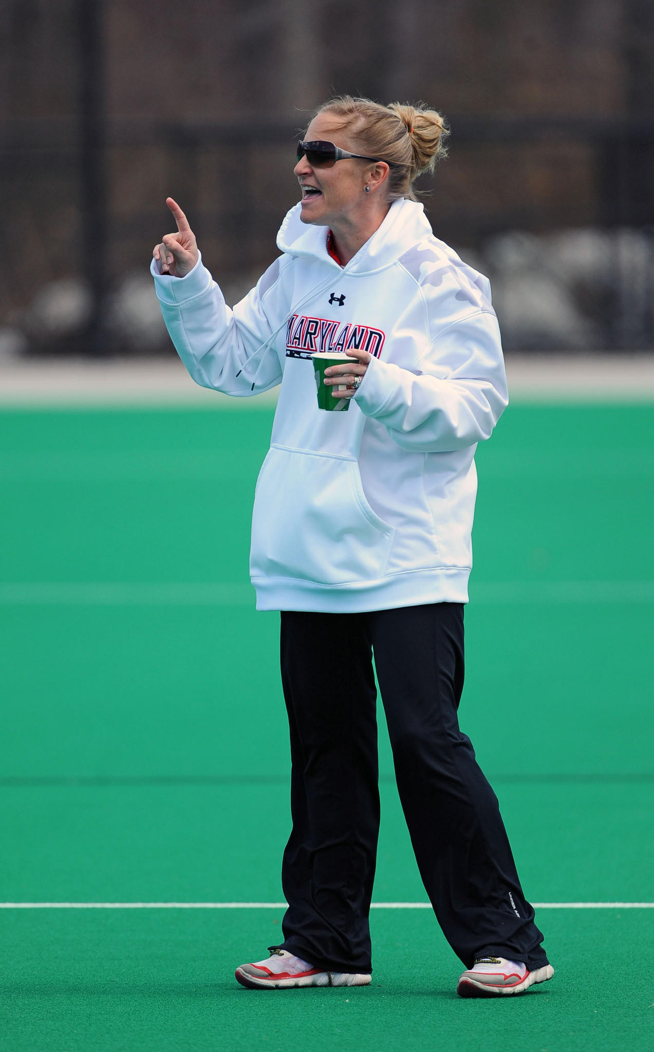 Maryland women lacrosse head coach Cathy Reese gives her team instructions during the 16-10 win against Notre Dame.