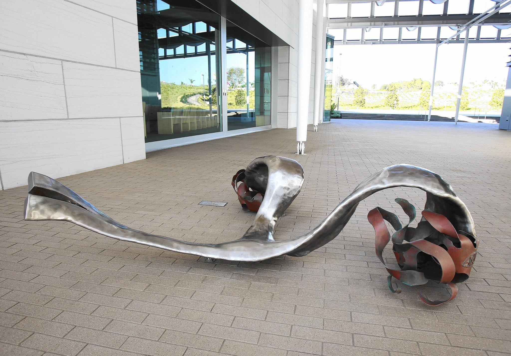 "Sarah Wilkinson's sculpture ""Uprooted II"" is modeled from stainless steel and bronze to resemble a piece of kelp she found on the beach near Wilkinson's home in Corona del Mar."