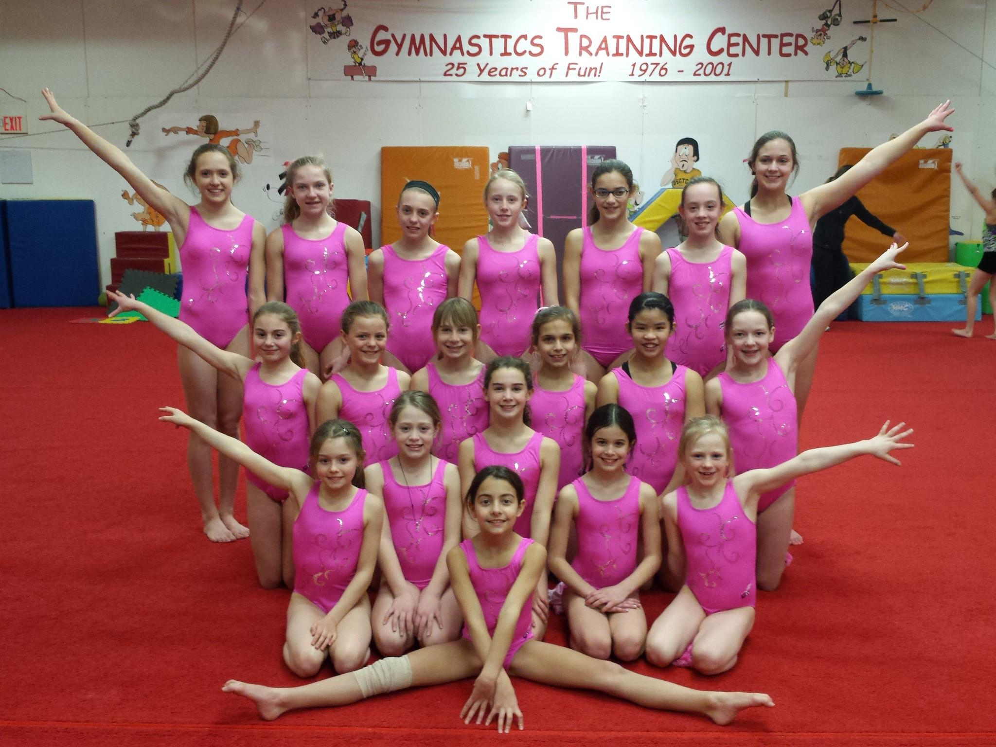 GTC team members participating in the 2014 Pink Invitational meet included: Front: Ava Lashgari, first row, from left to right: Kaelyn Gallaway, Katherine Benoit, Kate Schmucker, Natalie Yarnell and Gwen Ockberbloom, second row, from left to right: Brynn Sherry, Cori Schmidt, Maren Beverly, Sophia Przystawski, Sara Hagstrom and Fiona McNally, back row, from left to right: Chloe Dugan, Skylar McNally, Katheryn Rutledge, Isabella Harrington, Megan Fecteau, Taylor Bowie and Brenna Pellon.Not pictured: Kaylie Goodwin, Ashley Goodwin, Ally Doyle and GTC coaches Nickie Garon, Meghan Goodwin and Alex Ockerbloom.