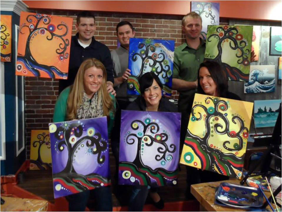In addition to offering a fun-filled night out, Muse Paintbar is often the inspiration for life's memorable moments. The studio recently played cupid to a lucky couple by creating a custom engagement painting for the man to use when he popped the question to his future bride. The entire studio celebrated with the happy couple.