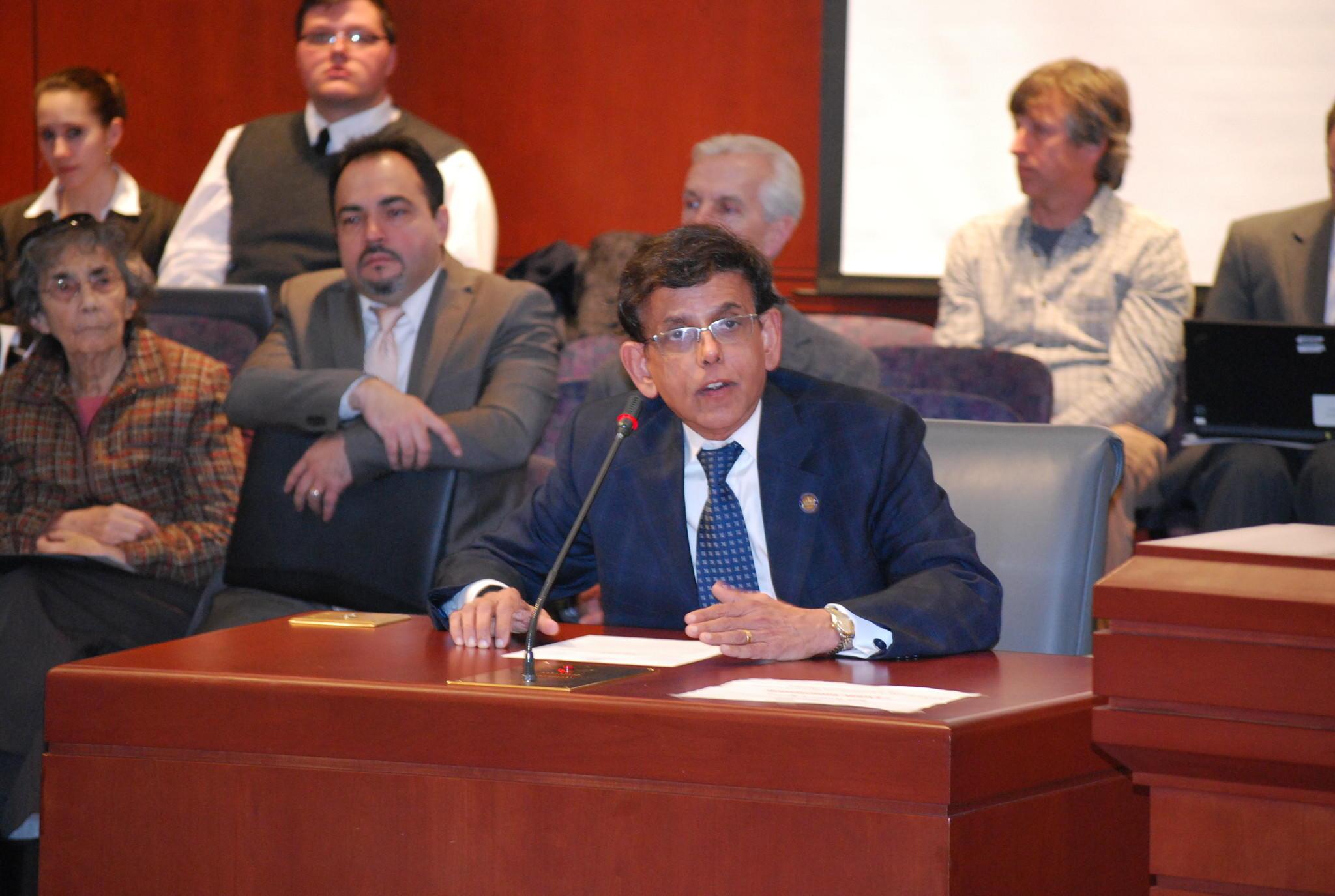 State Rep. Prasad Srinivasan (R-Glastonbury) testifying in front of the legislature's Labor Committee.
