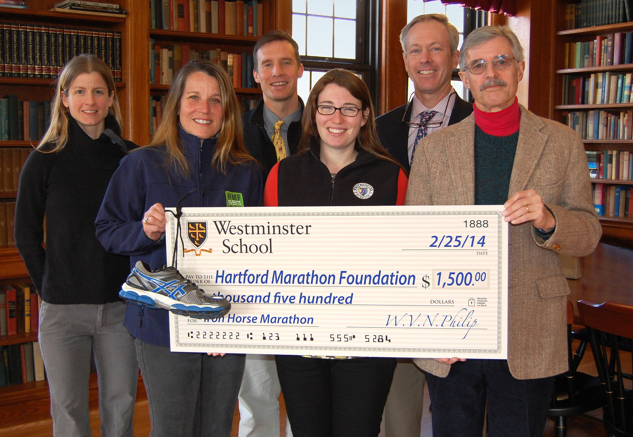 With Hartford Marathon Foundation's Sarah Roberson, second from left, are five Westminster faculty members who are runners and members of the planning team. From left to right: Amanda Hollebone, Robertson, Mark de Kanter, Maureen Lamb, David Werner and Morgan Shipway.
