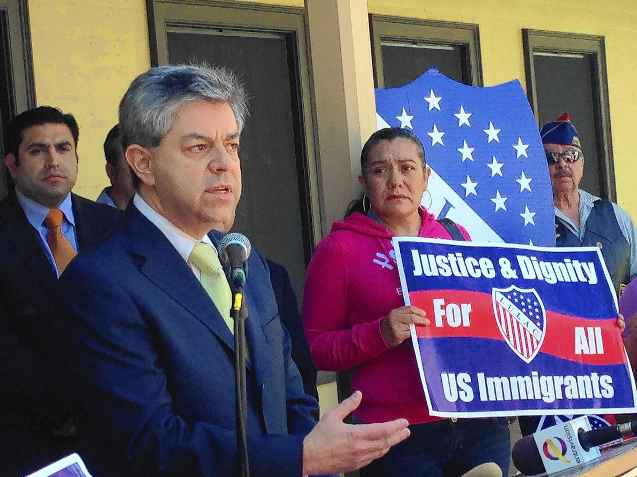"At a King City news conference, Carlos Ponce Martinez, consul general of Mexico in San Jose, condemns ""exploitation"" of the agricultural town's immigrant community. Rufina Recendiz, right, also spoke."