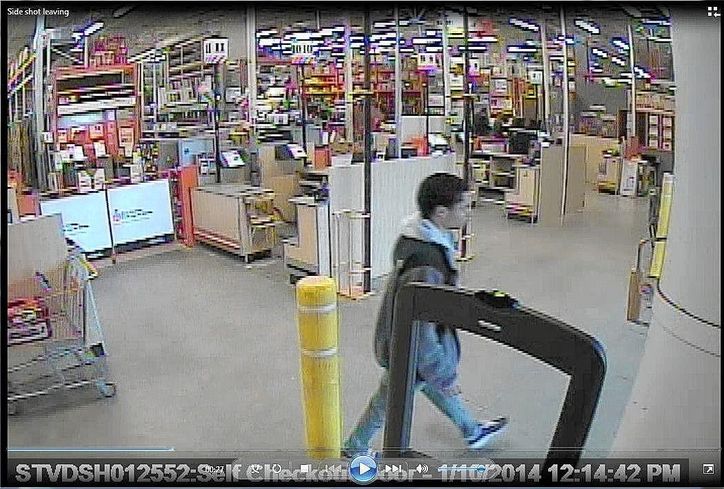 A surveillance image shows Darion Marcus Aguilar at Home Depot.