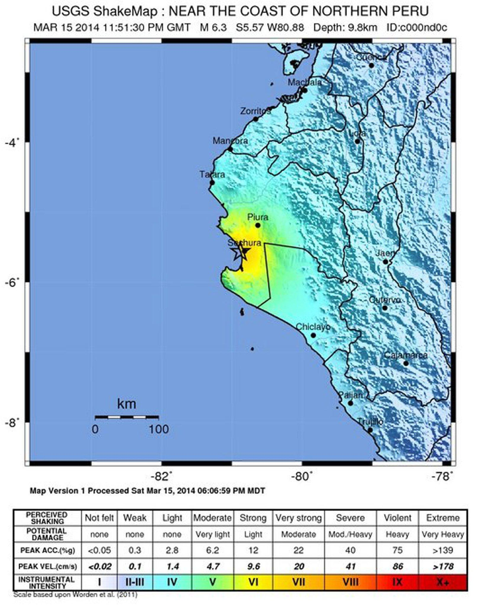 A shakemap of the location and intensity of an earthquake near the coast of Northern Peru on March 15 released by the U.S. Geological Survey. A 6.3 to 6.5 magnitude tremor at a depth of 9.8 km struck near the town of Sechura, Peru.