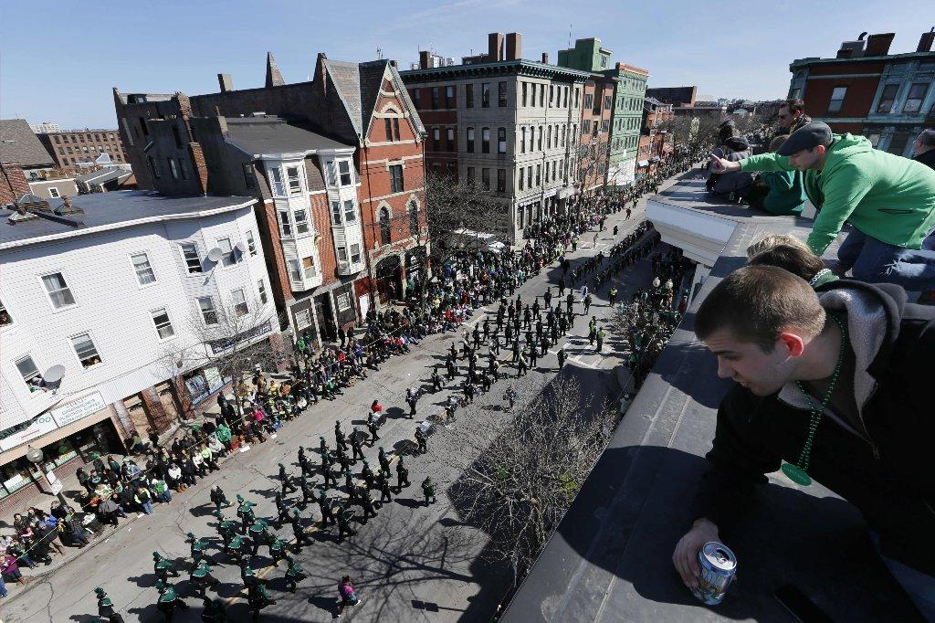 A view of the annual St. Patrick's Day parade from a roof in the South Boston neighborhood.