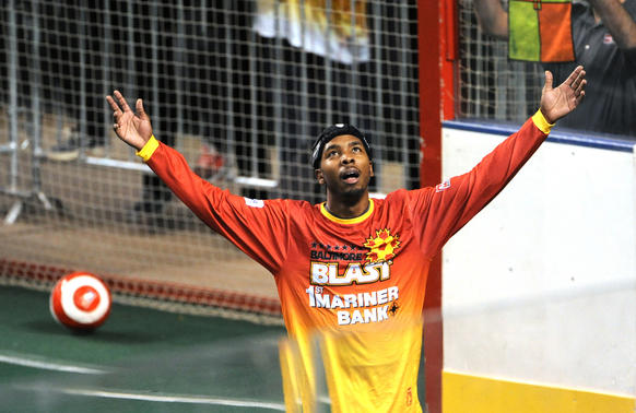 At the Baltimore Arena, Blast player Max Ferdinand reacts after scoring a goal.