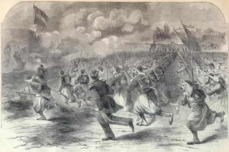 This June 29, 1861 Harper's Weekly illustration shows the 5th New York Infantry, also known as Duryee's Zouaves, during an assault on the Confederate position at Big Bethel.