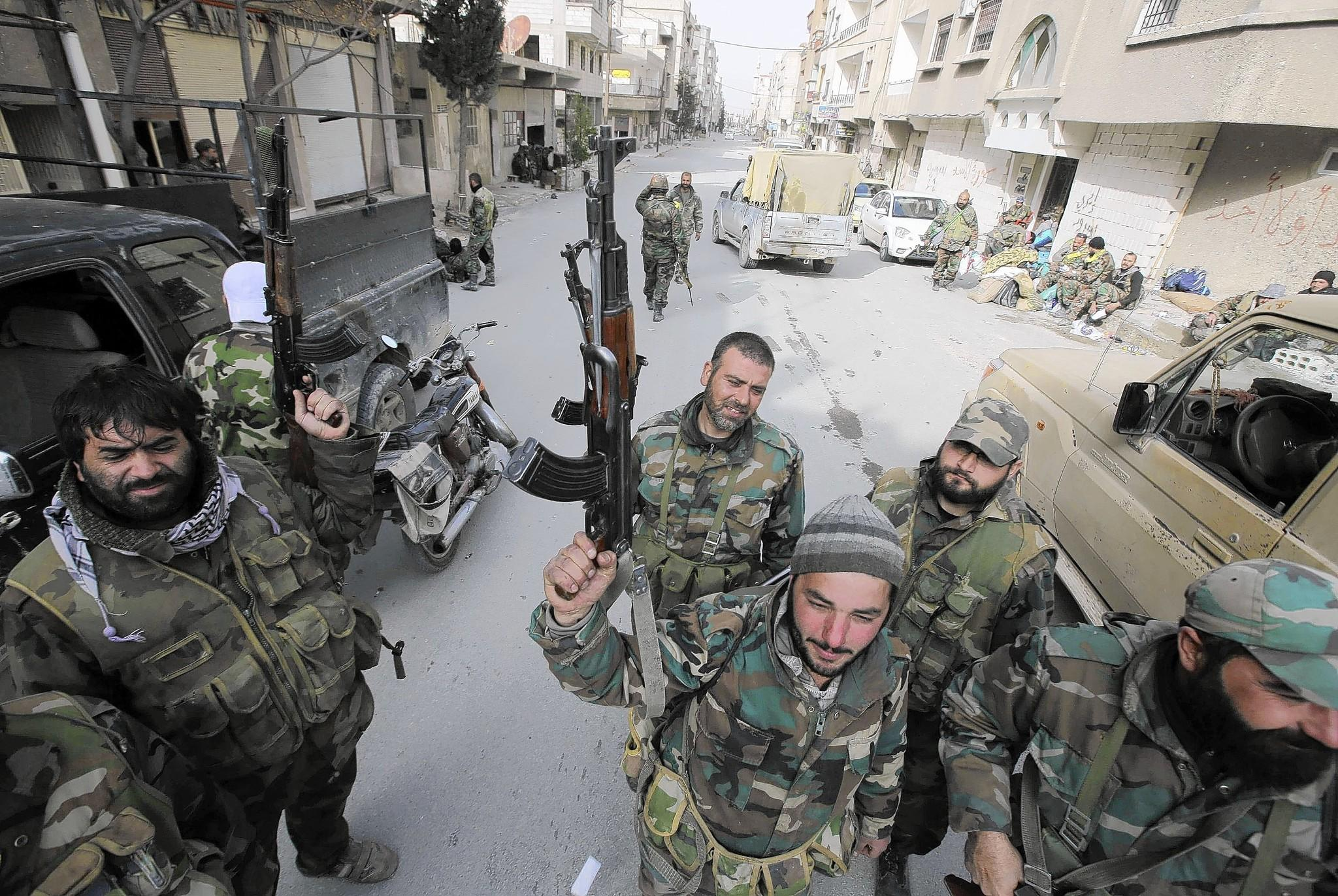 Syrian government troops found in the captured stocks of militants 74