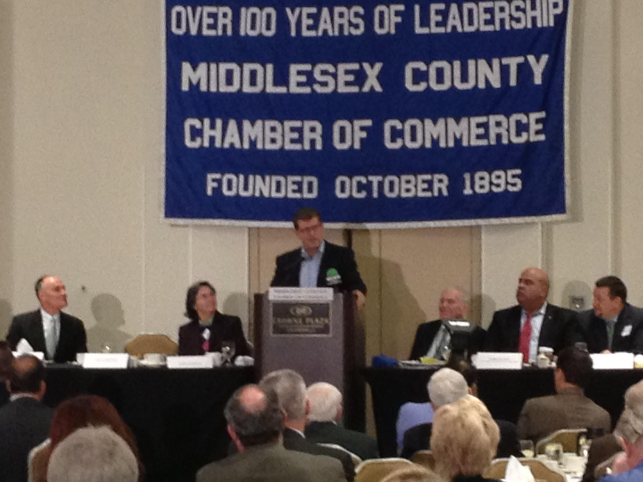 Geno Auriemma speaks at the Middlesex County Chamber of Commerce breakfast on Monday.