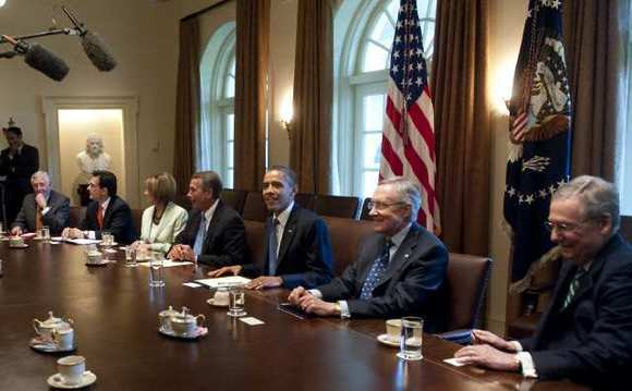 President Obama meets with congressional leadership about budget talks in the Cabinet Room of the White House on July 11.