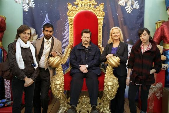 "The cast of ""Parks and Recreation"" displays its holiday cheer"