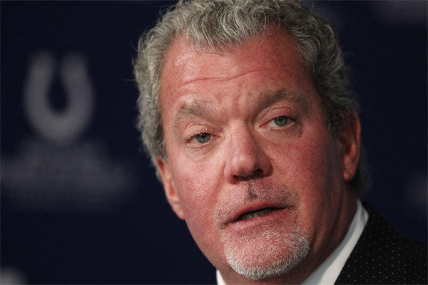 Colts owner Jim Irsay, shown in 2012, was arrested Sunday night on preliminary charges of driving while intoxicated and possession of a controlled substance.