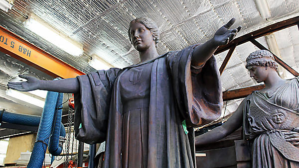 Part of the restored Alma Mater statue from the University of Illinois at Urbana-Champaign on Feb. 26, 2014.