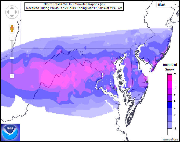 Maryland's heaviest snowfall in a late-season St. Patrick's Day storm was across Montgomery and Anne Arundel counties, according to the National Weather Service.