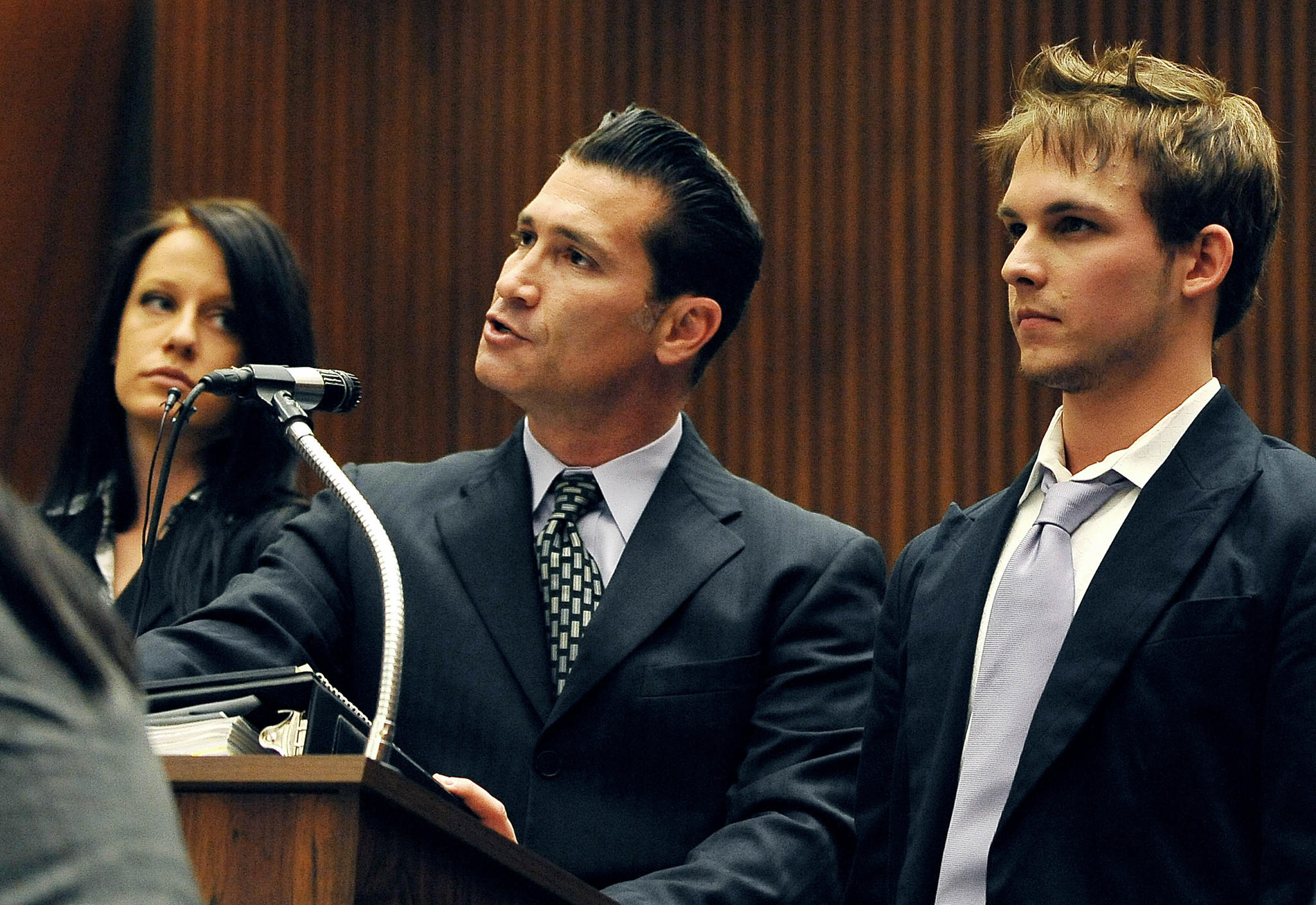 Nicholas Frank Prugo, right, listens as his attorney Sean Erenstoft addresses the court in 2009.