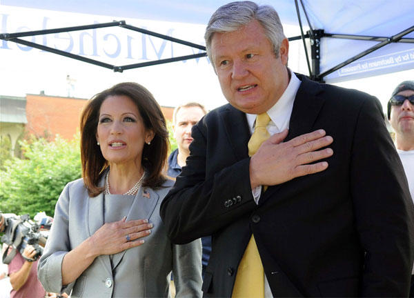 Rep. Michelle Bachmann (R-MN) and her husband Marcus on June 27, the day she announced her candidacy for the 2012 Republican presidential nomination at Iowa's historic Snowden House. (Steve Pope / Getty Images)