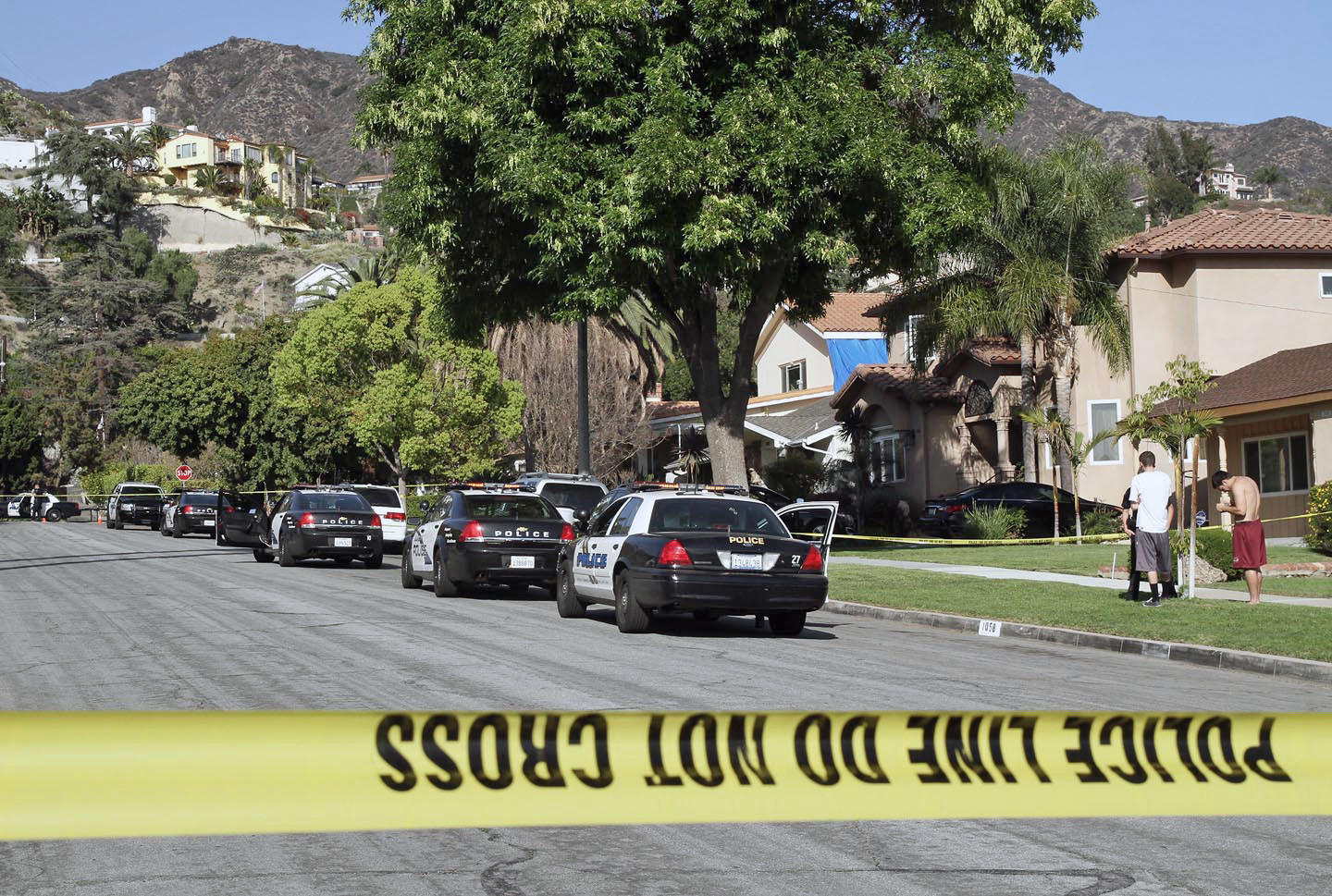 Two men were hospitalized with serious injuries following a stabbing incident in Burbank's hillside neighborhood on Saturday, March 15, 2014. Police investigate the 1100 Block of Angeleno Avenue.