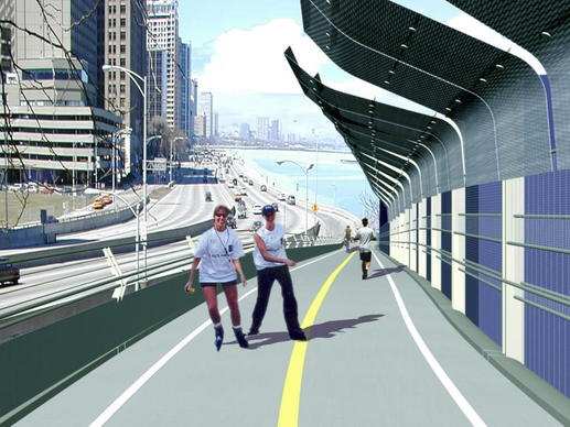 A computer-generated image of a proposed bicycle path alongside Lake Shore Drive near Navy Pier. The Chicago Plan Commission in 2011 approved a new bridge-like structure, called the Navy Pier Flyover, that would ease a major chokepoint in the city's lakefront trail.