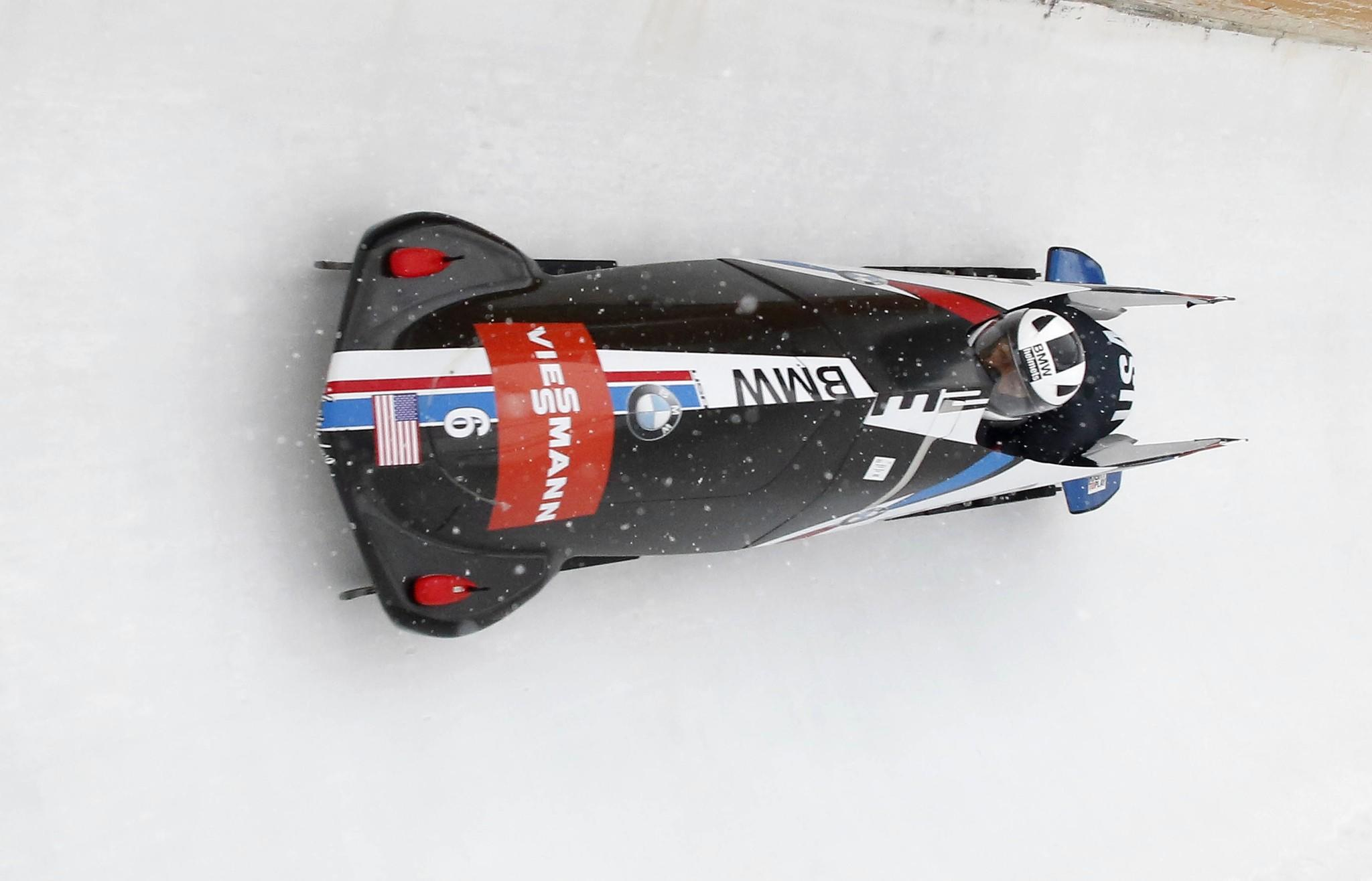 2014 Olympic medalists Elana Meyers and Aja Evans in last December's bobsled World Cup at the Utah Olympic Park.