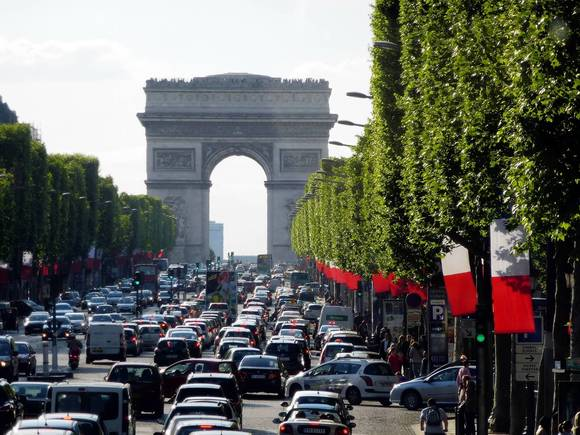 Traffic on the Champs-Elysees