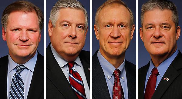 State Sen. Bill Brady, from left, State Sen. Kirk Dillard, businessman Bruce Rauner, State Treasurer Dan Rutherford.